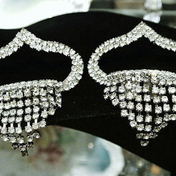 Rhinestone Shoe Clips MUSI 1950s 50s Mid Century Hollywood Regency Articulated Spillover Dangle Tassels Wedding Bride Christmas NYE Art Deco
