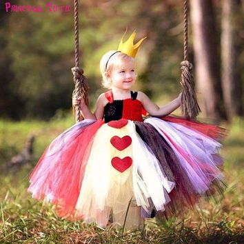 Halloween Queen of Heart Tutu Dress with Crown Little Girls Alice in Wonderland Cosplay Costume Set For Christmas New Year Party