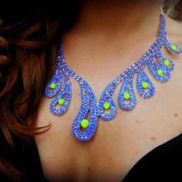 Neon Hand Painted Rhinestone Necklace in by MermaidGlitterDesign