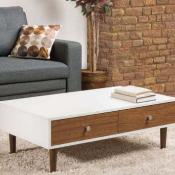 Mid-Century Style White Wood Coffee Table with 2 Drawers