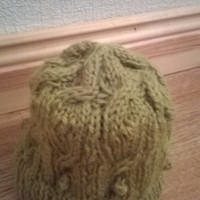 handmade knitted child's hat age 7 - 10, green in colour, beanie hat, cap, cable knit with bobbles, lovely soft yarn
