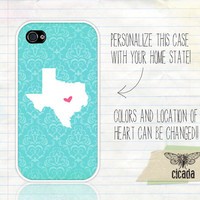 Unique iPhone Case - Blue Damask State Love iPhone 4 Case, iPhone 4s Case, Cases for iPhone 4, iPhone Cover (0082)