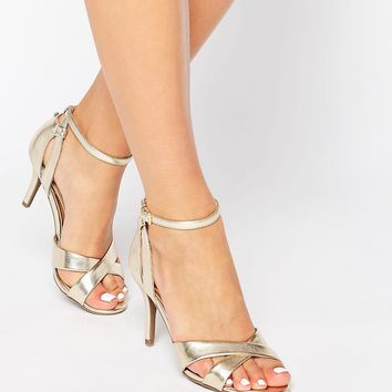 Head Over Heels By Dune Maddie Ankle Strap Gold Snake Print Heeled Sandals