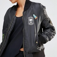 Daisy Street Bomber Jacket With Alien Woven Badges at asos.com