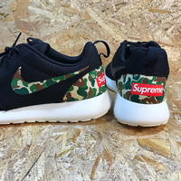 Custom Nike Roshe Run Bape x Supreme inspired Roshes