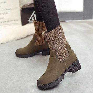 ac VLXC On Sale Hot Deal Vintage Dr. Martens Winter Knit Patchwork Casual Boots [107636785177]