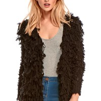 Mckenzie Shaggy Cardigan in Black