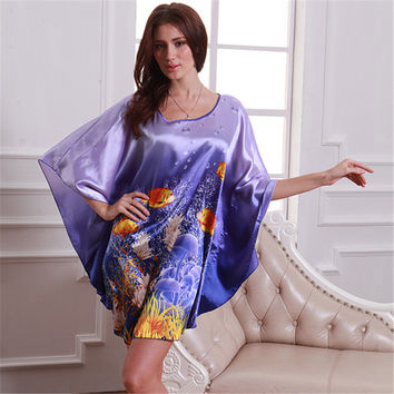 Lady Pattern Bat Shirt Sleepwear Pajamas Nightdress