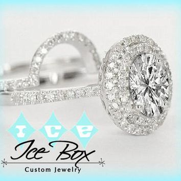 Moissanite Engagement Ring Matching Band 5 x 7mm Oval in a 14K White Gold Diamond Double Halo Setting with Matching Band