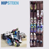 HIPSTEEN 24 Pockets Hanging Over Door Holder Shoes Nonwoven Fabric Mesh Organizer Stor