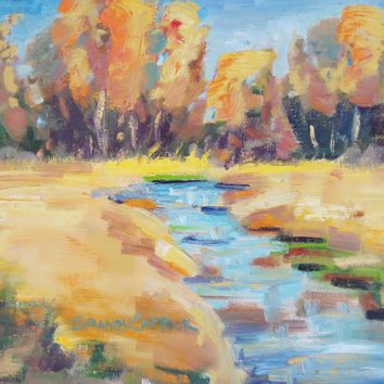 Fine Art 9x12 inch landscape painting The Fire of by brandycattoor