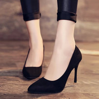Hot Sales Full Season Daily Women Pumps 8cm High Heels Genuine Leather Classic Office Shoes Size 34-42