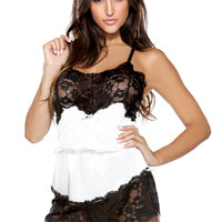 Satin Romper with Lace Bodice