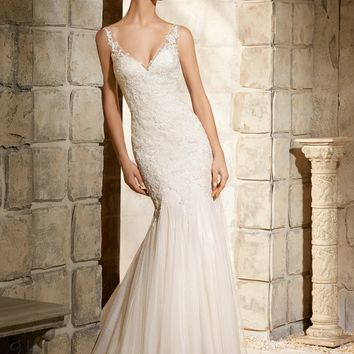 Blu by Mori Lee 5365 Vintage Style Fit and Flare Wedding Dress