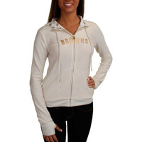All Sport Couture Cleveland Browns Ladies Play Action Full Zip Hoodie - Cream