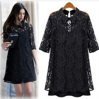 Order get gift New Fashin Women's Lady's Black Flower Lace Hollow Dress Plus Size(S-4XL) = 1958336708
