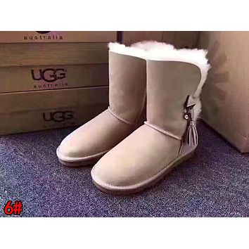 """UGG"" Fashionable Women Tassel Warm Wool Snow Boots High Long Boots 6#"