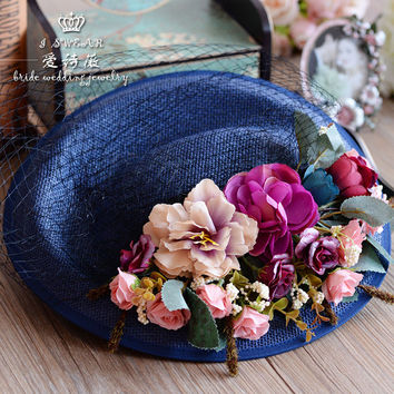 Vintage Wedding Hat Flower Feather Tulle European Birdcage Veil Headpiece Head Veil 2016 Cheap Modern Wedding Bride Accessories