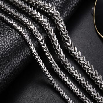 Stainless Steel Link Necklace Men 18-30 inch 3-6MM Colar Masculino Cuba Male Long Curb Double Chain