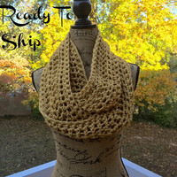 Ready To Ship Infinity Scarf Crochet Knit Mustard Women's Accessories Eternity Fall Winter