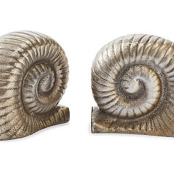 Nickel Snail Bookends