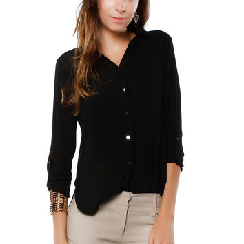 Back-Zipper Chiffon Blouse