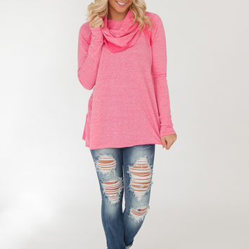 Sweet As Pie Cowl Neck Pullover - Pink