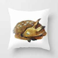 deer Throw Pillow by Carrie Booth