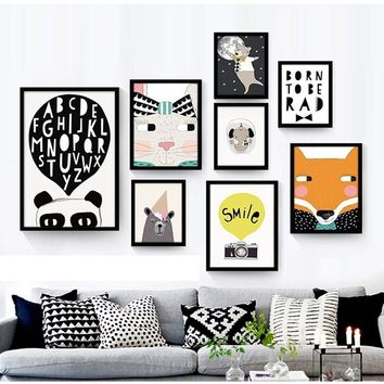 Black White Nordic animal Love Quotes Canvas Print Poster Nursery Babyroom Decor Wall Art Canvas Painting Cartoon Wall Pictures