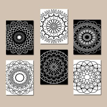 BLACK WHITE Wall Art, Coloring Book Decor, CANVAS or Prints, Black White Bedroom Wall Decor, Medallion Mandala Designs, Home Decor, Set of 6