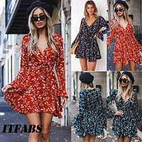 Fashion Women Long Sleeve Floral Dress Casual Party Evening Party Short Mini Dress V neck Sexy Sundress bohemian beach dress