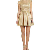 Hailey Logan Illusion Party Dress - Gold
