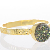 Sterling Silver Amethyst Druzy Ring 18k Gold Plated Multicolor Purple Green SZ6