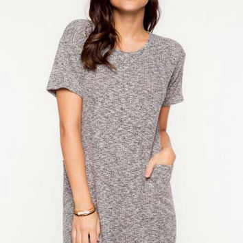 Short Sleeve Front Pockets Ribbed Tee Dress - Charcoal