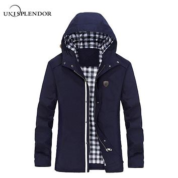 unisplendor 2017 Hooded Long Zipper Jacket Cotton Autumn Winter Men Outerwear Slim Fit Classic Trench Coat Plus Size 5XL YN833