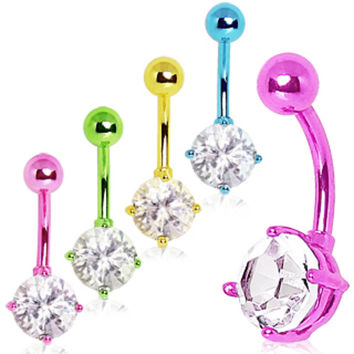 Neon Color Plated Prong Set 8mm Round CZ Navel Ring