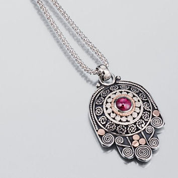 Hamsa, Sterling Silver Hamsa Necklace pendant, jewel for protection