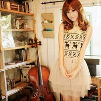 Cute Knit Deer Pattern Dress
