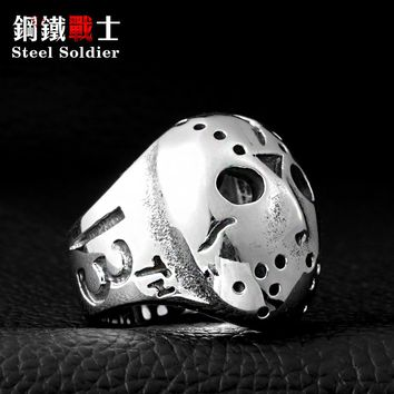 Steel soldier Halloween Jason Mask Ring Hockey for Man Exaggerated Personality Cheap Price