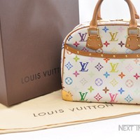 Auth Louis Vuitton Monogram Multicolor Trouville Hand Bag White M92663 LV 40586