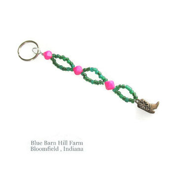 Cowboy / Cowgirl Boot Keychain - Hand beaded with green and pink beads - Item #20150008