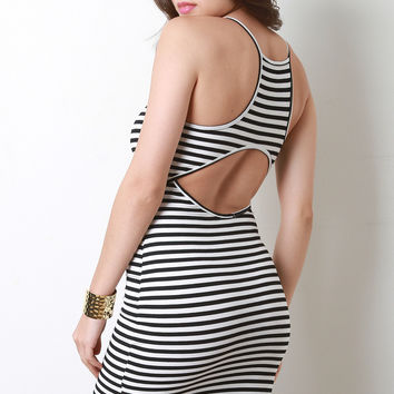 Round Hem Striped Knit Bodycon Dress