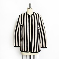 Vintage 1960s Sweater - Black & White Striped Knit Cardigan 60s - Medium / Small