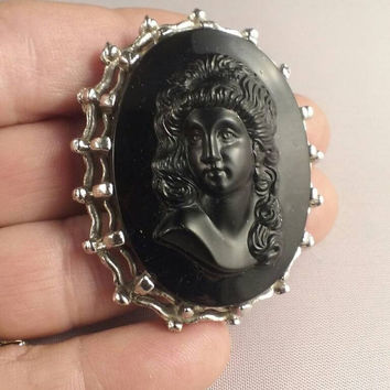 Mourning Brooch  Jet Black Czech Glass Cameo