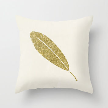 Gold Feather Velveteen Pillow - Gold Pillow - Gold Pillow Cover - Decorative Pillows - Pillow Cover - Gold Cushion - Ivory  - Gift Ideas