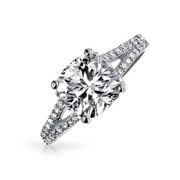 3CT Square Cushion Cut AAA CZ Engagement Ring 925 Sterling Silver