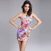 2017 New Arrival Women Summer Dress Vintage Strapless Floral Printed Bodycon Dress Sexy Mini Short Party Dresses Vestidos S2663
