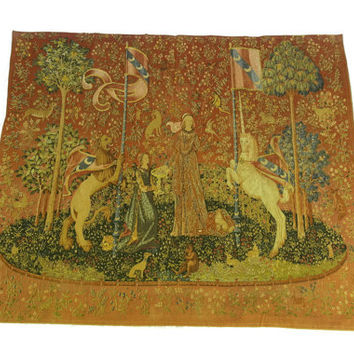 Large French Tapestry of The Lady and The Unicorn. Hand Printed  Reproduction Of Antique French Wall Hanging Tapestry. French Chateau Decor