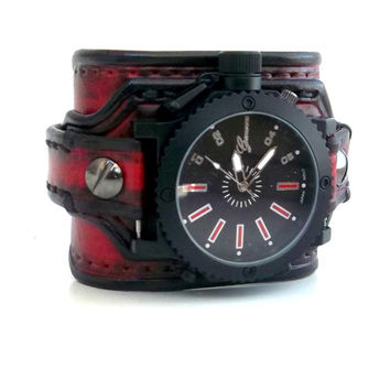 Red and Black Leather Cuff Watch, Wrist Watch, Leather Men's watch, Leather Cuff, Bracelet Watch, Watch Cuff