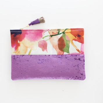 FLORIANA / Floral silk & Purple velvet clutch bag